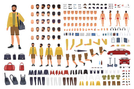 Caucasian man constructor or DIY kit. Collection of male character body parts, hand gestures, clothing isolated on white background. Front, side and back views. Flat cartoon vector illustration