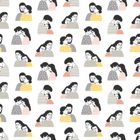 Seamless pattern with people in love. Backdrop with cute cuddling romantic couples or hugging men and women on white background. Hand drawn vector illustration for textile print, wrapping paper