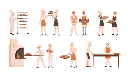 Collection of smiling men and women baking bread and making confections isolated on white background. Bundle of male and female bakers and confectioners. Flat cartoon colorful vector illustration.