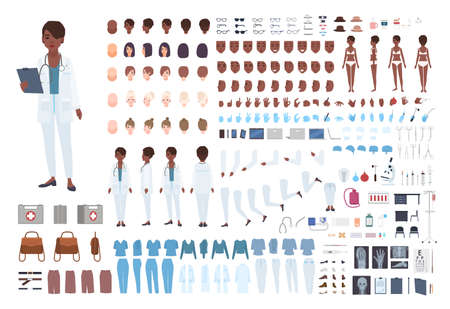 African American female doctor constructor. Set of body parts in different poses, facial expressions, uniform isolated on white background. Front, side and back views. Cartoon vector illustration Vektoros illusztráció