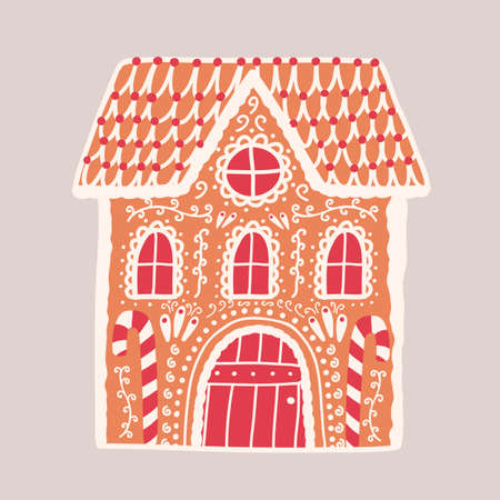 Gingerbread house isolated on light background. Decorative confection shaped like building. Beautiful delicious dessert, tasty sweet pastry. Colorful vector illustration in flat cartoon style. Illustration