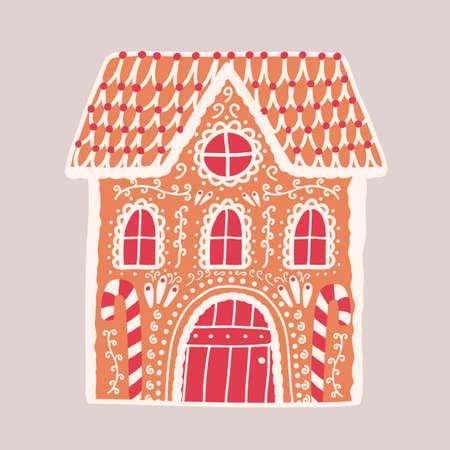 Lebkuchenhaus lokalisiert auf hellem Hintergrund. Dekoratives Konfekt in Gebäudeform. Schönes leckeres Dessert, leckeres süßes Gebäck. Bunte Vektorillustration im flachen Karikaturstil.