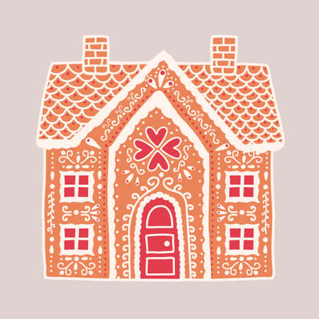 Traditional gingerbread house isolated on light background. Delicious baked product shaped like two-storey residential building and decorated with icing. Flat cartoon colorful vector illustration.