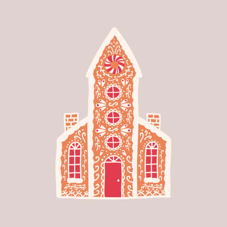 Delicious gingerbread house isolated on light background. Aromatic pastry shaped like living building or church with tower and decorated with sugar icing. Vector illustration in flat cartoon style.