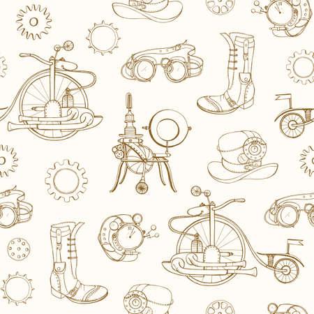 Einfarbiges nahtloses Muster mit Steampunk-Attributen und Bekleidungshand gezeichnet mit Höhenlinien auf hellem Hintergrund. Kulisse mit dampfbetriebenen Maschinen. Realistische Vektorillustration für Tapeten