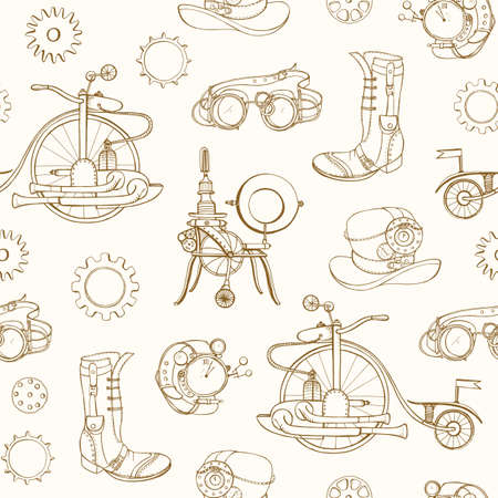 Monochrome seamless pattern with steampunk attributes and apparel hand drawn with contour lines on light background. Backdrop with steam powered machines. Realistic vector illustration for wallpaper