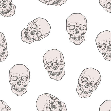 Seamless pattern with realistic human skulls on white background. Backdrop with dead heads or headbones. Monochrome vector illustration for wrapping paper, Halloween wallpaper, fabric print