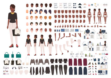 African American woman secretary, manager or office assistant DIY or animation kit. Set of female character body parts and formal clothing isolated on white background. Cartoon vector illustration
