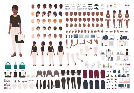 Afro-Amerikaanse vrouwelijke secretaresse, manager of kantoorassistent DIY of animatiekit. Set van vrouwelijke karakter lichaamsdelen en formele kleding geïsoleerd op een witte achtergrond. Cartoon vectorillustratie