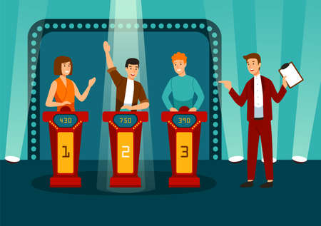 TV game show with three participants answering questions or solving puzzles and host. Smiling men and women participate in television quiz. Colorful vector illustration in flat cartoon style Standard-Bild - 114676949