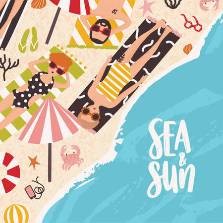Square summer background with people lying on sandy beach, sunbathing near ocean and Sea And Sun inscription handwritten with calligraphic font. Flat cartoon seasonal vector illustration