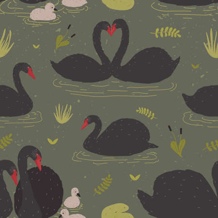 Seamless pattern with black swans and brood of cygnets floating in pond or lake among water plants. Backdrop with wild birds or waterfowl. Flat colorful cartoon vector illustration for textile print