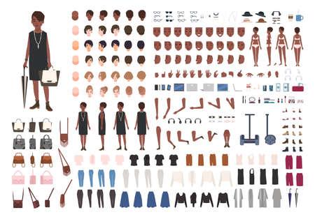 Elegante kit de bricolaje o animación de joven afroamericana. Paquete de detalles corporales de personajes femeninos, poses, gestos, ropa elegante aislado sobre fondo blanco. Ilustración vectorial de dibujos animados plana