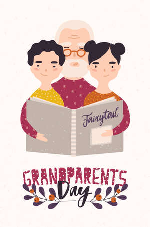 Grandfather reading book with grandchildren. Granddad telling fairytales to his gramdson and granddaughter. Colorful vector illustration in flat cartoon style for Grandparents Day greeting card