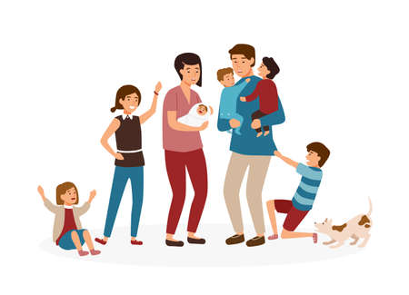 Big family with many children. Stressed and tired parents or exhausted mom and dad and nasty kids isolated on white background. Problem of tiring and stressful parenting. Cartoon vector illustration 向量圖像