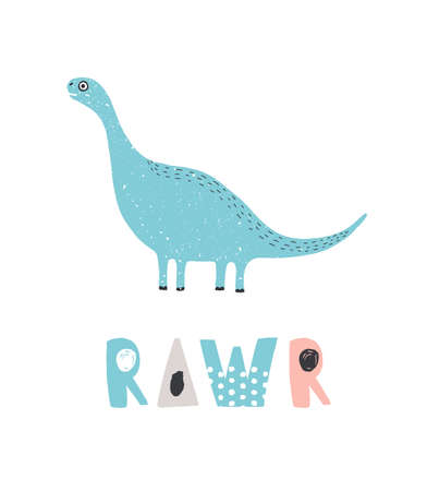 Adorable dinosaur and RAWR inscription isolated on white background. Blue cute diplodocus. Funny extinct animal. Colorful childish vector illustration in flat cartoon style for baby t-shirt print.