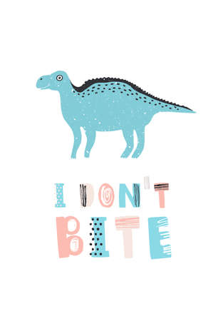 Amusing dinosaur or iguanodon and I Dont Bite message isolated on white background. Funny prehistoric creature, animal or monster. Cute childish vector illustration for t-shirt print, stamp. Illustration