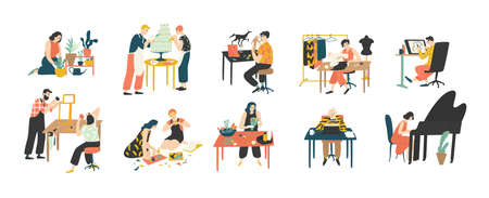 Collection de personnes appréciant leurs passe-temps - jardinage, cuisine, couture, dessin, fabrication de collages sur papier, floristique, écriture, piano. Illustration vectorielle colorée en style cartoon plat
