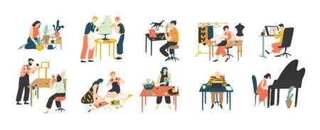 Sammlung von Menschen, die ihre Hobbys genießen - Hausgartenarbeit, Kulinarik, Nähen, Zeichnen, Papiercollagenherstellung, Floristik, Schreiben, Klavierspielen. Bunte Vektorillustration im flachen Karikaturstil