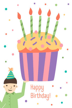 Vertical Greeting Card Template With Happy Birthday Wish Cute