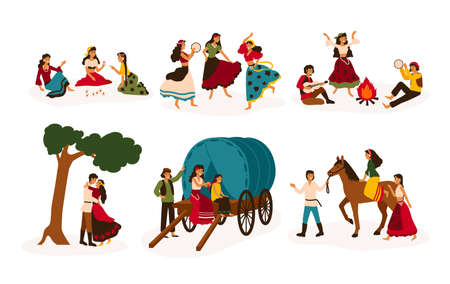 Conjunto de escenas de estilo de vida con gitanos o romaníes que realizan diversas actividades: montar a caballo, tocar la guitarra y bailar, sentarse en un carro tradicional, decir el futuro. Ilustración vectorial plana