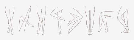 Fascio di gambe femminili in diverse pose o posture disegnate a mano con linee di contorno. Raccolta di eleganti disegni di piedi femminili isolati su sfondo bianco. Illustrazione vettoriale monocromatica.