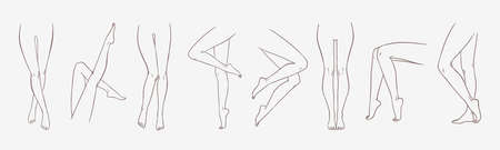 Bundle of female legs in different poses or postures hand drawn with contour lines. Collection of elegant drawings of womens feet isolated on white background. Monochrome vector illustration.