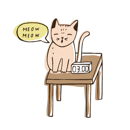 Cute naughty cat sitting on bedside table near digital clock and meowing at night. Nasty loud kitty. Problem of bad behavior of domestic animal or pet. Colorful hand drawn vector illustration