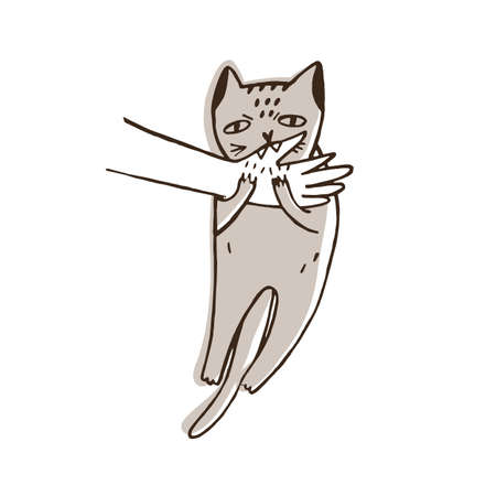 Angry cat biting hand of its owner isolated on white background. Aggressive, evil or furious kitty. Problem of disobedience of domestic animal, pet's aggression. Hand drawn vector illustration