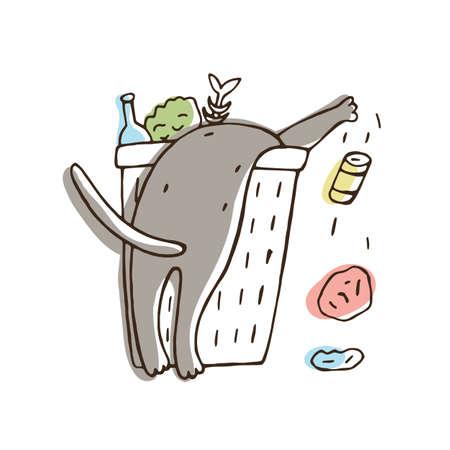 Gato tirando basura de la papelera o balde. Gatito travieso esparciendo basura aislado sobre fondo blanco. Comportamiento problemático del animal doméstico. Ilustración de vector dibujado a mano colorido Ilustración de vector