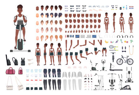 African American sportswoman or female athlete DIY or animation kit. Set of slim girl's body parts, sports apparel, gym exercise machines isolated on white background. Cartoon vector illustration Illustration