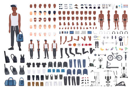 African American sportsman or male athlete DIY or animation kit. Bundle of mans body elements, sports apparel, training equipment isolated on white background. Flat cartoon vector illustration