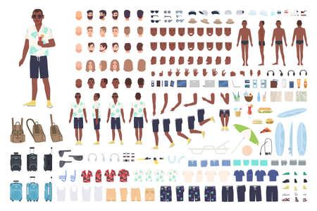Chico en animación de vacaciones o kit de bricolaje. Colección de elementos del cuerpo turístico masculino, gestos, ropa, equipamiento turístico aislado sobre fondo blanco. Ilustración de vector de color en estilo de dibujos animados plana.