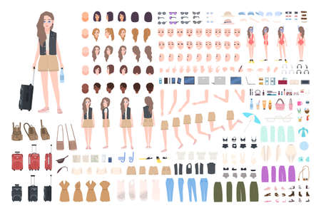 Traveler girl constructor or DIY kit. Bundle of female tourist body parts, postures, clothing, touristic equipment isolated on white background. Colorful vector illustration in flat cartoon style Vektorgrafik
