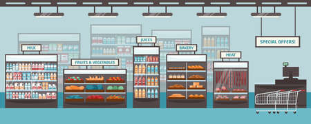 Supermarket shelvings and glass cases with various products - milk, fruits, vegetables, juices, bakery, meat. Food retailer, grocery store or shop. Colored vector illustration in flat cartoon style