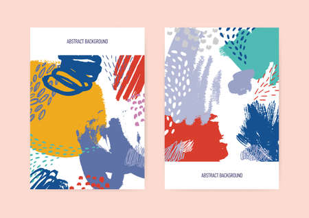 Set of vertical flyer or postcard templates decorated with chaotic vibrant hand painted texture with scribble, smears, blots, spots, blotches. Stylish vector illustration in contemporary art style