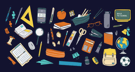 Collection of school stationery and tools for learning, studies, education isolated on dark background. Colorful hand drawn vector illustration in realistic style for Knowledge day or 1 September