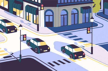 City view with cars driving along road, modern buildings, crossroad with traffic lights and zebra crossings or crosswalks. Urban scenery. Colorful vector illustration in contemporary flat style.
