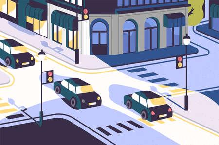 Vista sulla città con auto che percorrono strade, edifici moderni, incrocio con semafori e strisce pedonali o strisce pedonali. Scenario urbano. Illustrazione vettoriale colorato in stile piatto contemporaneo.