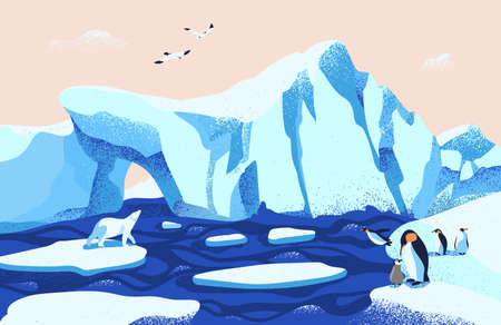 Beautiful Arctic or Antarctic landscape. Gorgeous scenery with large icebergs floating in ocean, polar bear, penguins and seagulls. Colorful vector illustration in modern flat cartoon style Banque d'images - 112027484