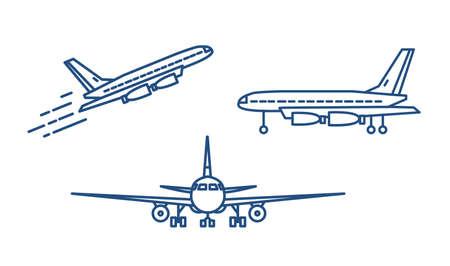 Passagierflugzeug oder Zivilflugzeug, das abhebt oder aufsteigt und auf dem Boden steht, gezeichnet mit Höhenlinien auf weißem Hintergrund. Vorder- und Seitenansichten. Monochrome Vektorillustration im linearen Stil Vektorgrafik