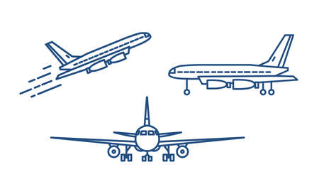 Passenger plane or civil aircraft taking off or ascending and standing on ground drawn with contour lines on white background. Front and side views. Monochrome vector illustration in linear style 向量圖像