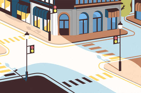 Paisaje urbano con intersección de calles, edificios elegantes, cruce con señales de tráfico y pasos de cebra o cruces peatonales. Centro de la ciudad moderna. Ilustración de vector colorido en estilo plano de dibujos animados.