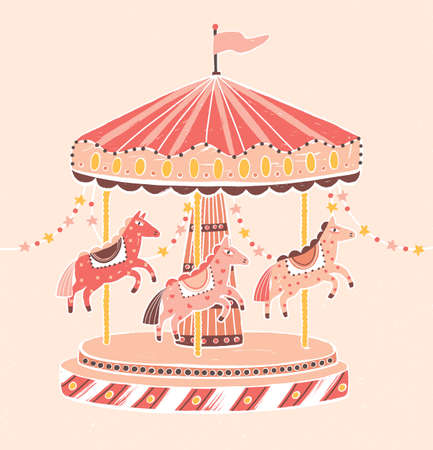 Old-fashioned style carousel, roundabout or merry-go-round with horses. Amusement ride for childrens entertainment decorated with garlands. Colorful vector illustration in flat cartoon style