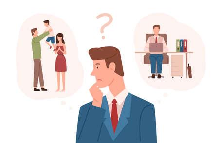 Hombre vestido con traje de negocios eligiendo entre responsabilidades familiares y carrera. Elección difícil, dilema de la vida, toma de decisiones de los padres que trabajan. Ilustración de vector colorido en estilo de dibujos animados plana