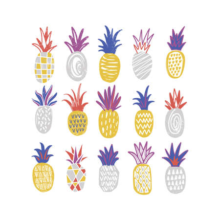 Bundle of stylized pineapples of various texture isolated on white background. Collection of delicious sweet exotic fresh juicy fruits. Colorful hand drawn vector illustration in trendy doodle style