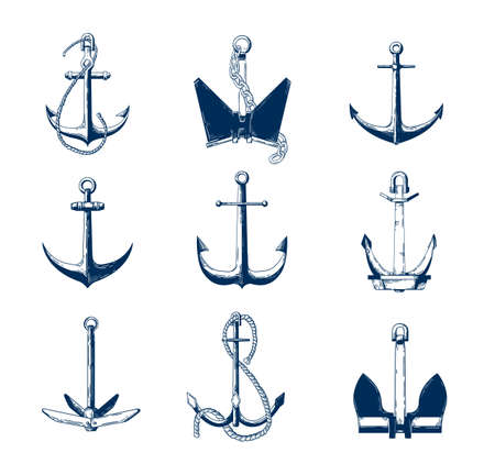 Collection of nautical anchors of various types hand drawn with navy contour lines on white background. Monochrome decorative vector illustration in elegant antique style for logotype, tattoo. 写真素材