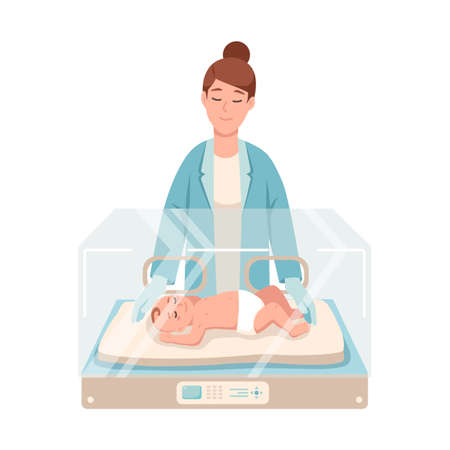 Premature newborn infant lies inside neonatal intensive care unit, female doctor or pediatric nurse stands beside it and checks. Baby nursery. Colorful vector illustration in flat cartoon style Foto de archivo - 112027496