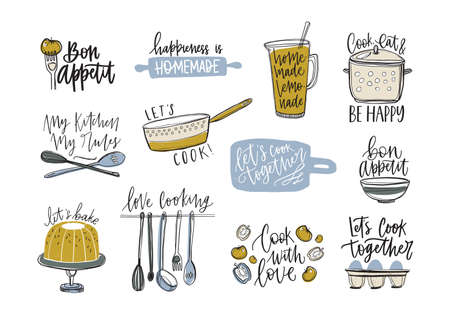 Bundle of slogans written with cursive font and decorated with cookware and food products. Set of inscriptions and kitchen utensils for cooking or homemade meals preparation. Vector illustration