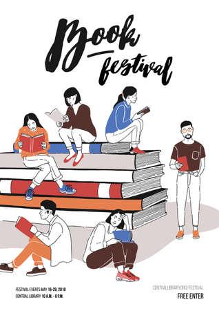 Grupo de jóvenes vestidos con ropa de moda sentados en una pila de libros gigantes o al lado y leyendo. Ilustración de vector de color para publicidad de festival literario o de escritores, promoción.